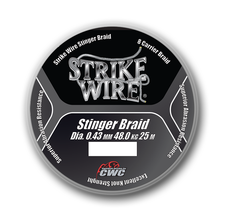 Strike Wire stingerbraid X8 0,43 i 25 meterspolar.